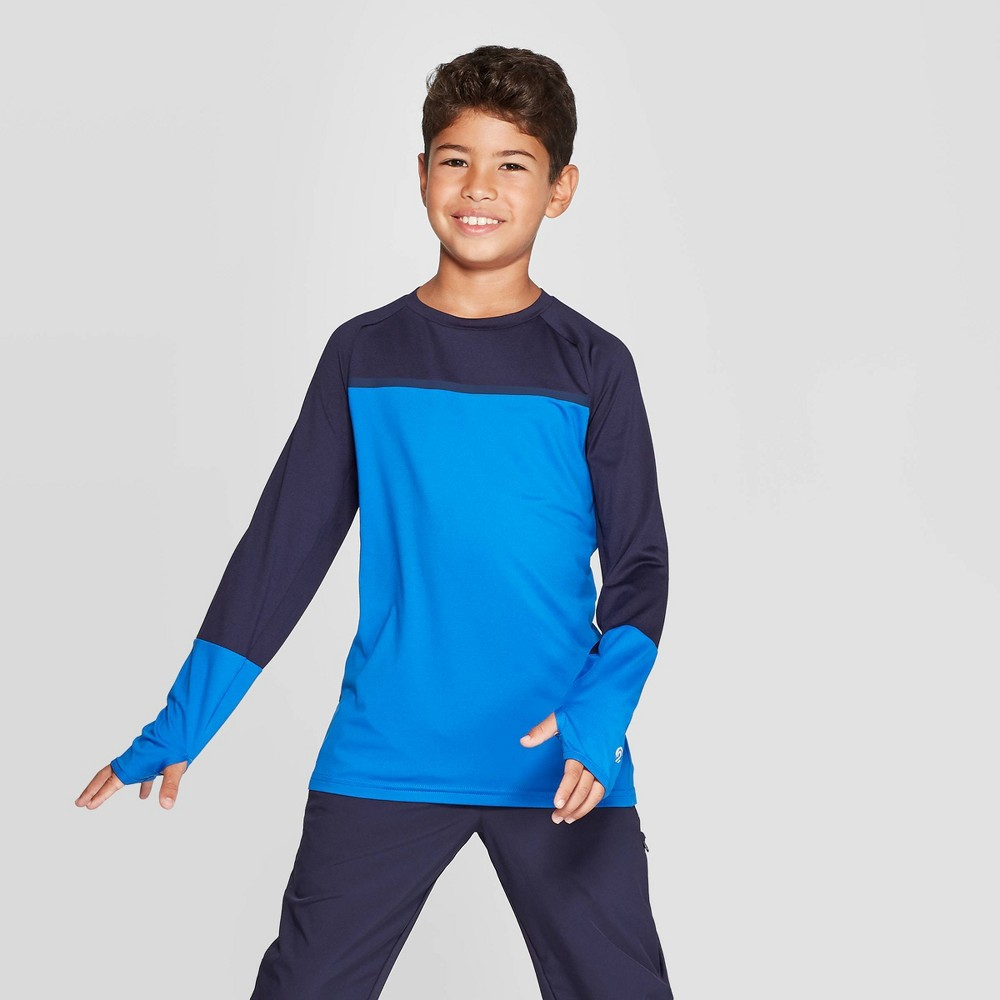 Image of Boys' Color Blocked Long Sleeve T-Shirt - C9 Champion Blue L, Boy's, Size: Large