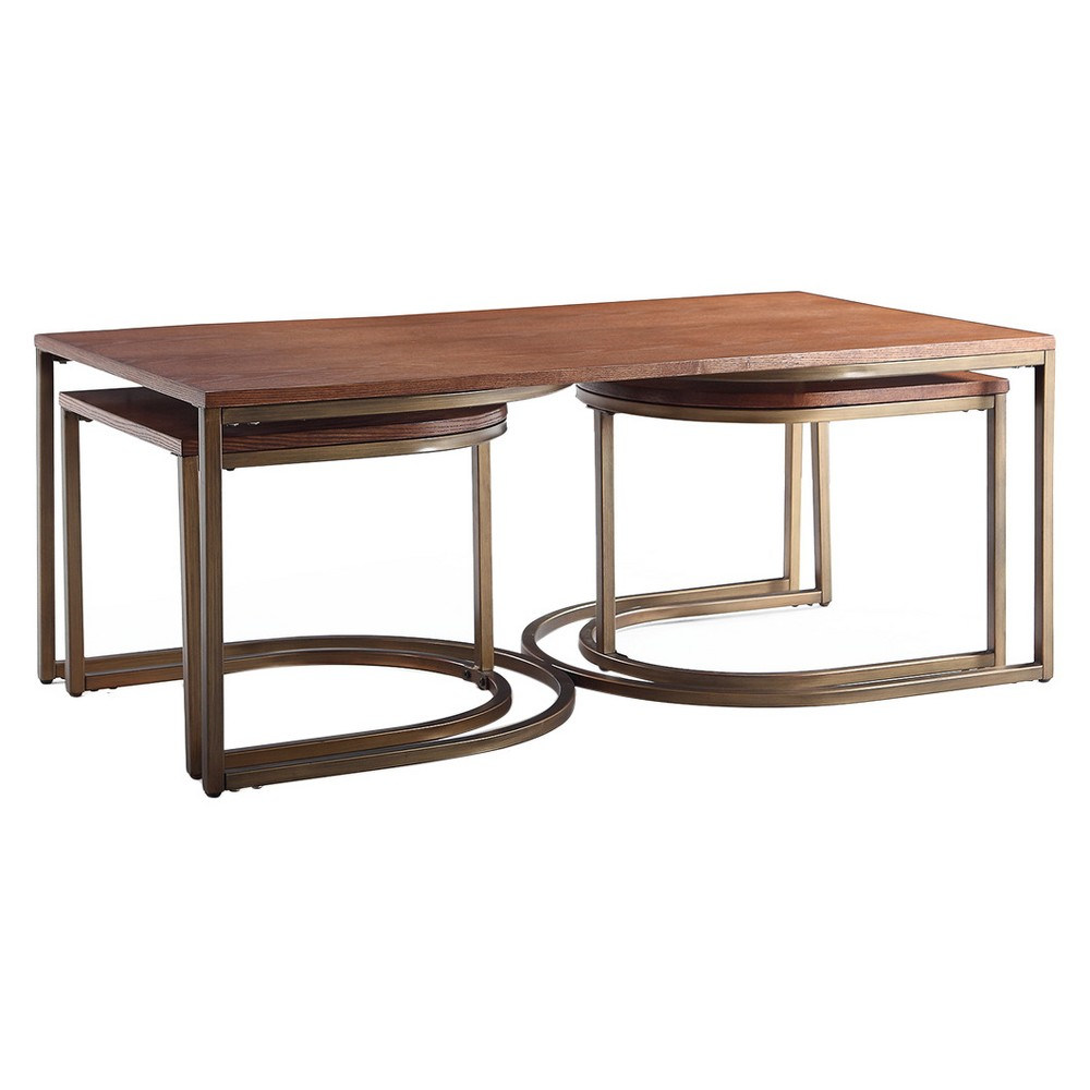 Lincoln Nesting Tables Deco - Walnut (Brown) (Set Of 3) - Haven Home