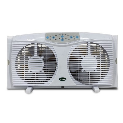 Optimus F-5286 Reversible 8 Inch Powerful 3 Speed Cool Air Home Twin Window Fan with Automatic Thermostat Control and LED Display, White
