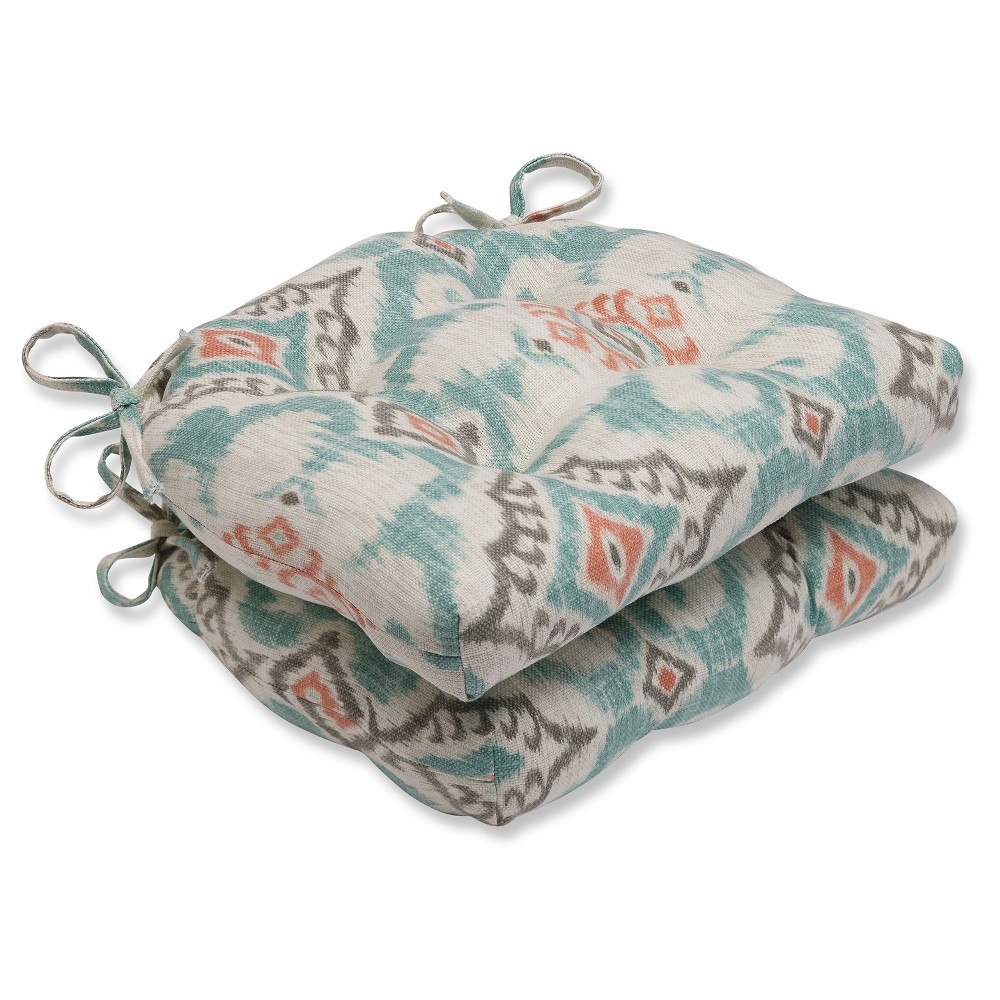 """Image of """"Gray Kantha Surf Reversible Chair Pad (Set Of 2) (16""""""""X15.5""""""""X4"""""""") - Pillow Perfect, Green"""""""