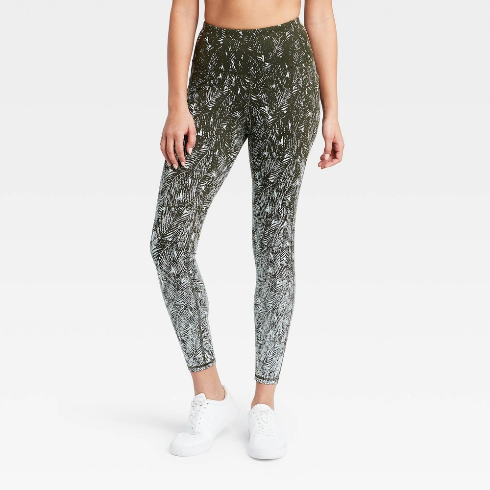 Women 39 S Premium Simplicity High Waisted Textured 7 8 Leggings 26 25 34 All In Motion 8482 Olive Green Xl