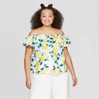 Women's Plus Size Cropped Short Sleeve Off The Shoulder Blouse   Who What Wear White by Who What Wear White