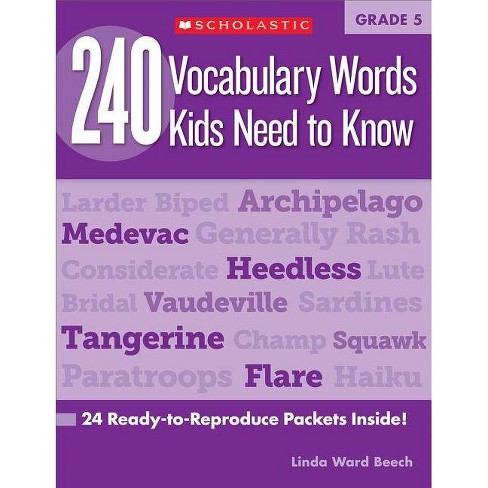 240 Vocabulary Words Kids Need to Know: Grade 5 - by  Linda Beech (Paperback) - image 1 of 1