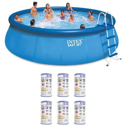 """Intex 18' x 48"""" Inflatable Easy Set Above Ground Pool Set + Filter Cartridge (6)"""