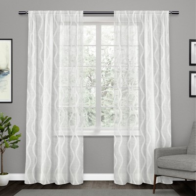 """54""""x96"""" Belfast Woven Wave Embellished Sheer Hidden Tab Top Curtain Panel Pair - Exclusive Home"""