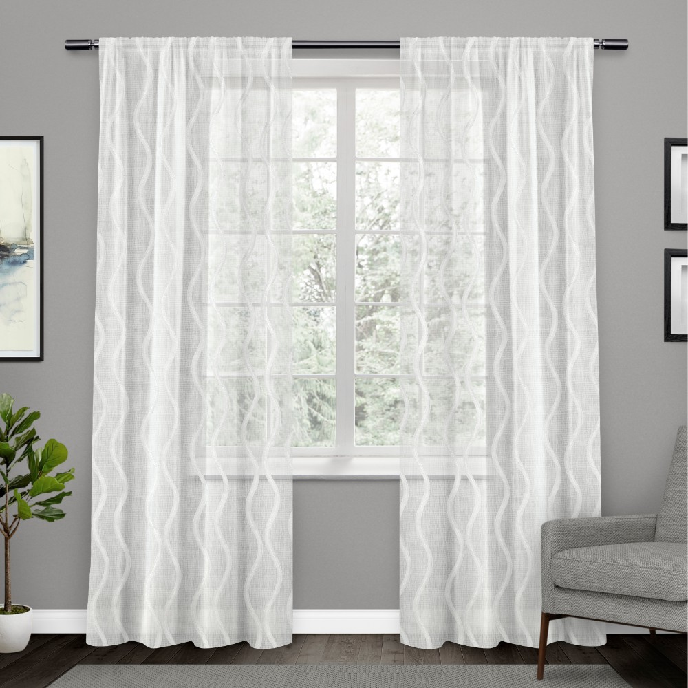 Set of 2 96x54 Belfast Woven Wave Embellished Sheer Hidden Tab Top Curtain Panel White - Exclusive Home Best