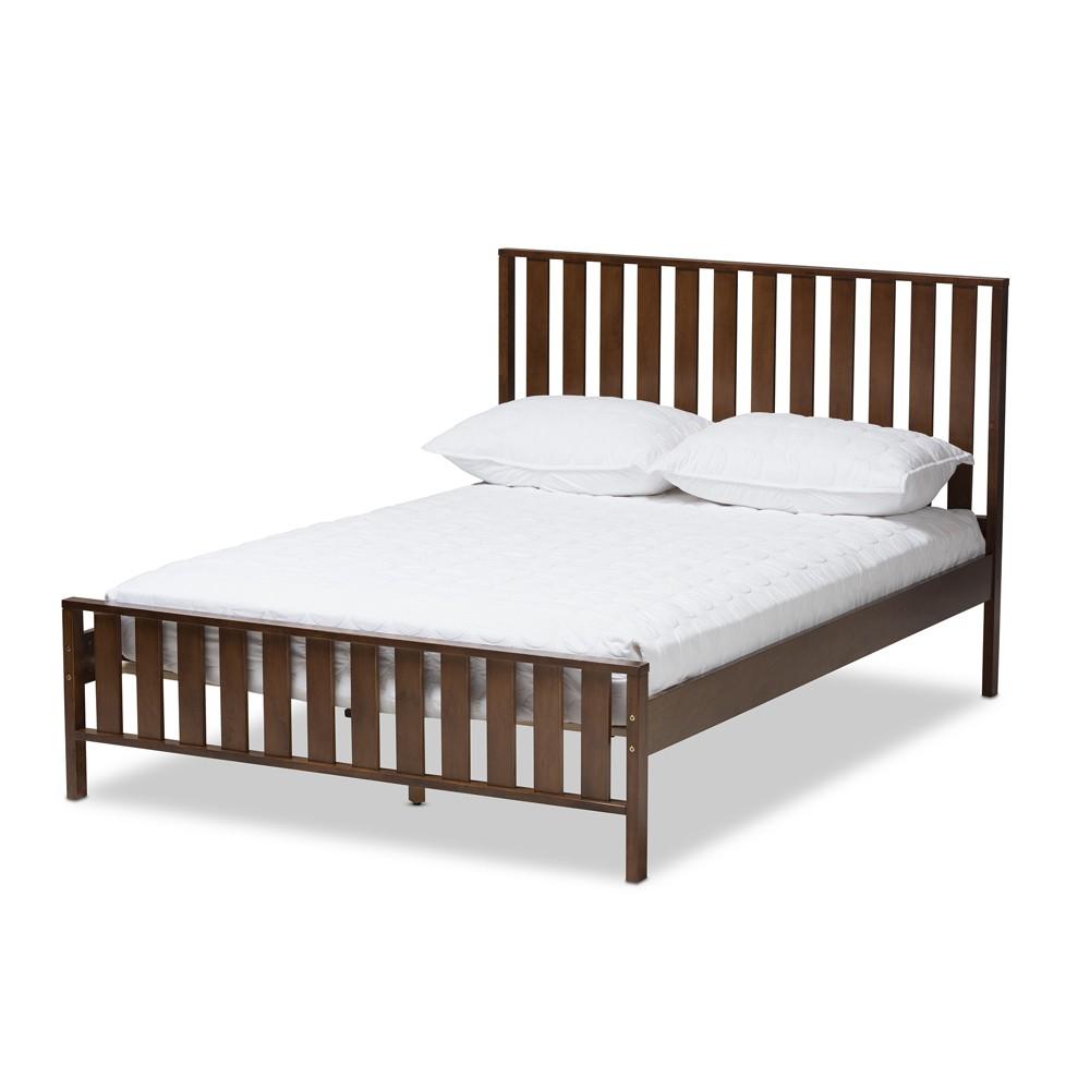 Harlan Modern Classic Mission Style Finished Wood Platform Bed Walnut Brown Full - Baxton Studio