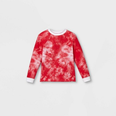 Boys' Tie-Dye Pullover Sweatshirt - Cat & Jack™ Red/White