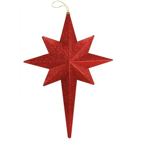 Christmas Central 20 Red Hot Glittered Bethlehem Star Shatterproof Christmas Ornament