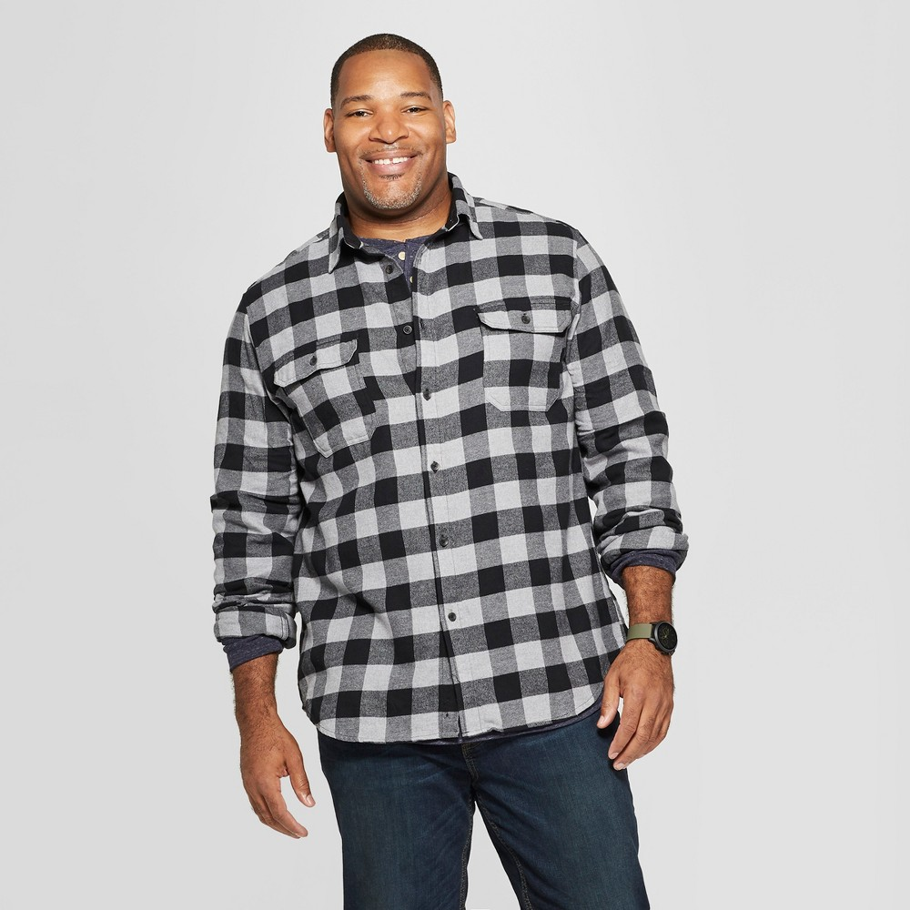Men's Big & Tall Checkered Standard Fit Long Sleeve Flannel Button-Down Shirt - Goodfellow & Co Black 3XB
