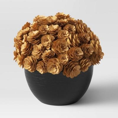 "6.5"" x 7"" Artificial Pinecone Arrangement in Wood Pot Brown/Black - Threshold™"