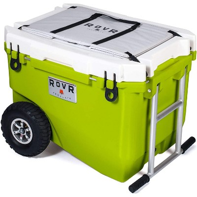 RovR RollR High Quality Portable Bear Proof Rolling Outside Insulated Icebox Cooler with Convenient Travel Wheels, 60 Quart, Moss Green