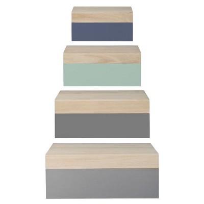 Wood Storage Boxes - Gray/Mint Set of 4 - 3R Studios