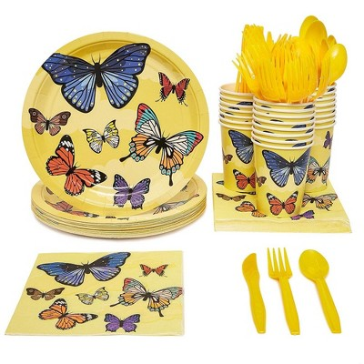24 Set Butterfly Birthday Party Supply Pack Knives Spoon Fork Plate Napkin Cups