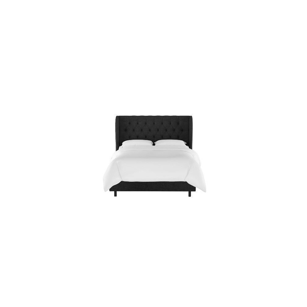 Queen Tufted Wingback Bed Black Linen - Threshold