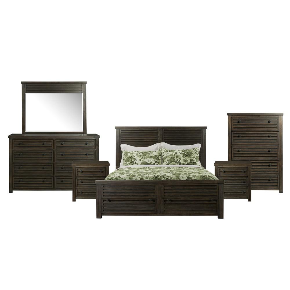 6pc King Montego Storage Bedroom Set Dark Walnut - Picket House Furnishings, Brown