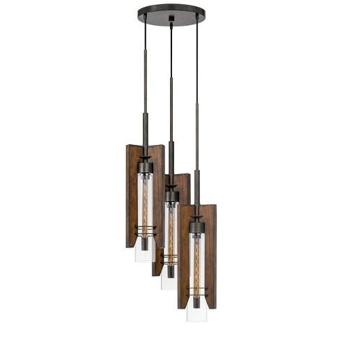 60W X 3 Almeria Wood/Glass 3 Light Pendant Fixture Ceiling Light (Edison Bulbs Not Included) - Cal Lighting - image 1 of 2