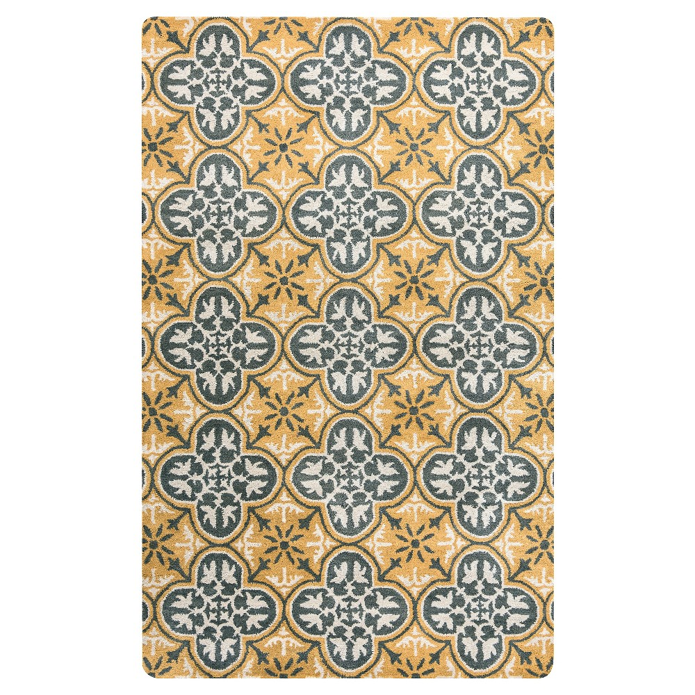 Image of 8'X10' quatrefoil Design Area Rug Gray - Rizzy Home, Gold Gray