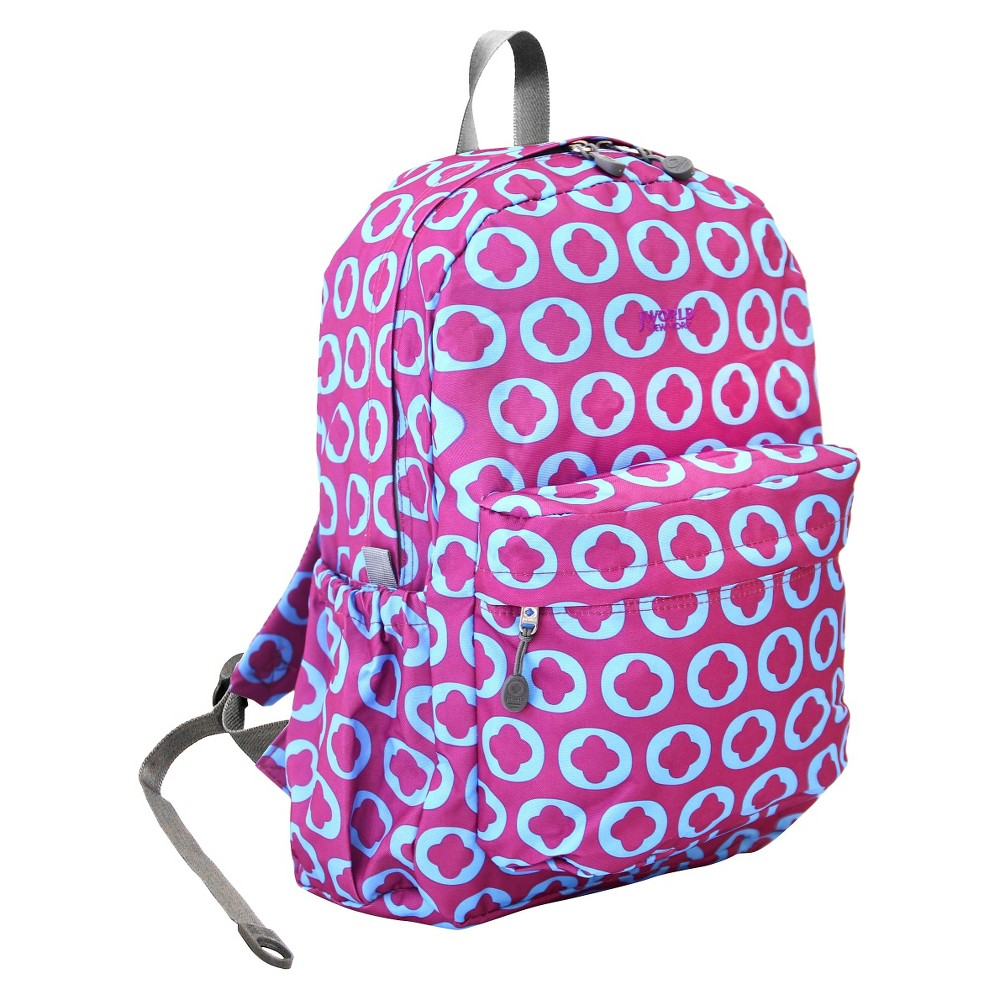 J World 17 Oz Laptop Backpack - J logo J World New York OZ backpack comes in a variety of prints that will make you look very fashion forward. This backpack features back cushion and ergonomic shoulder straps for all day comfort.With roomy compartment, front zipper pocket and side pockets, the backpack offers plenty sotrage for items for your daily commute or occasional trip. Color: J logo. Gender: Female. Pattern: Company logo.