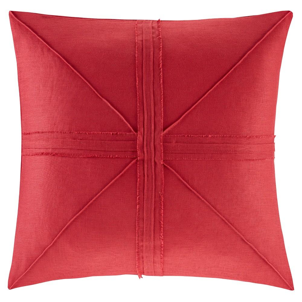 Red Fifer Linen Frayed Throw Pillow (24