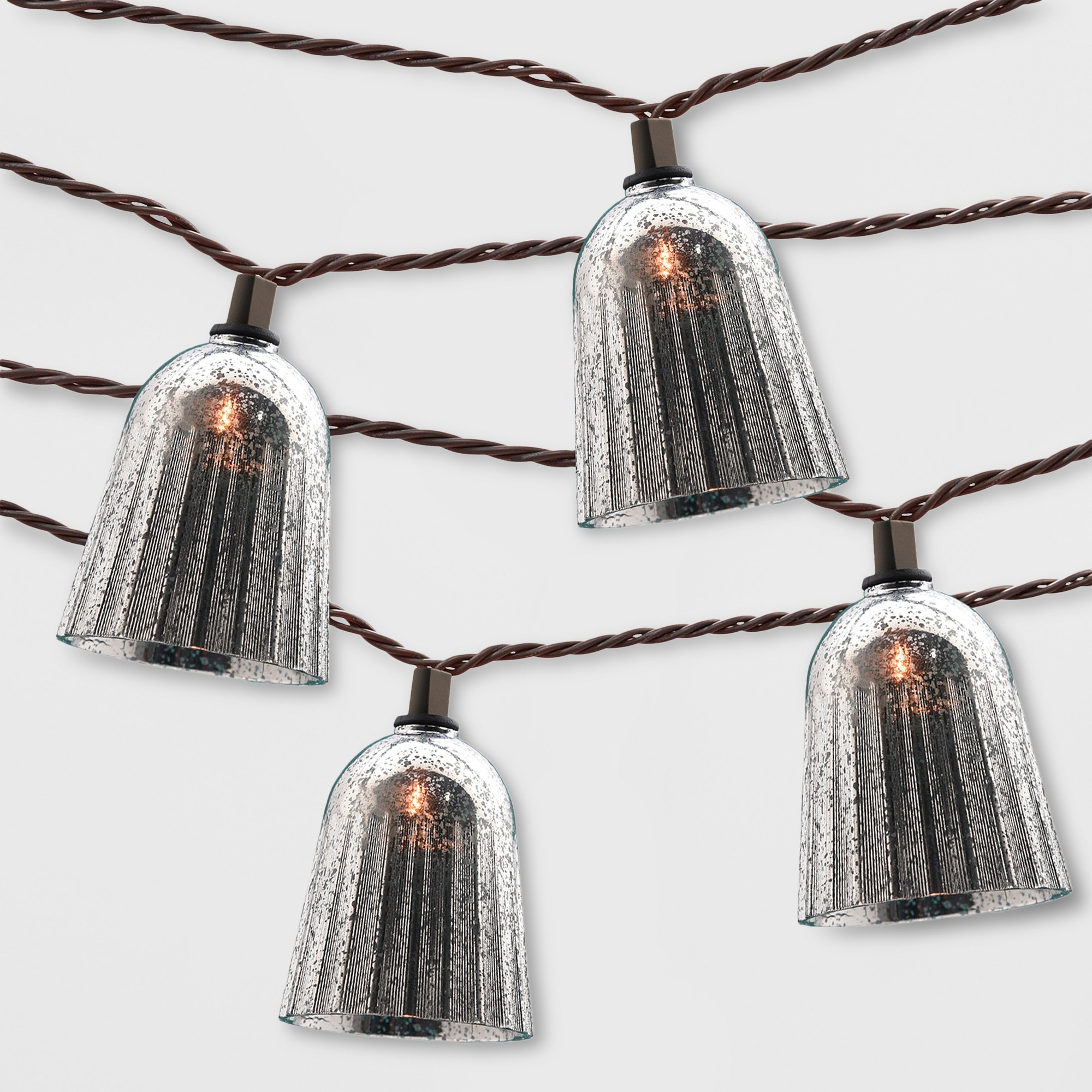 10ct Ribbed Outdoor String Lights Mercury Hood - Opalhouse