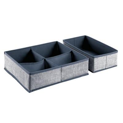 mDesign Fabric Dresser Drawer, Closet Storage, 4 Pieces - 2 Pack
