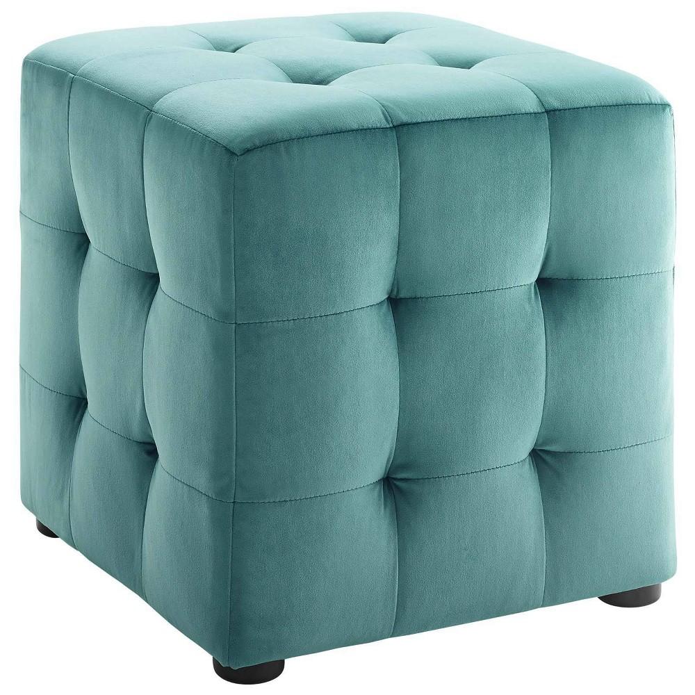 Image of Contour Cube Velvet Ottoman Teal - Modway, Blue