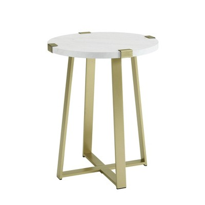 Urban Industrial Glam Faux Wrap Leg Round Side Table Faux Marble/Gold - Saracina Home