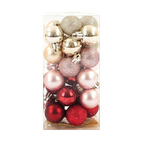 mini ball plastic christmas ornament set light goldlight pinkwine 25ct wondershop - Pink And Gold Christmas Decorations