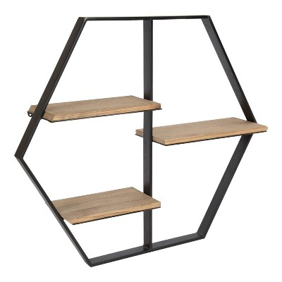 """25.5"""" x 22"""" x 5"""" Ladd Hexagon Floating Shelves Rustic Brown - Kate & Laurel All Things Decor"""