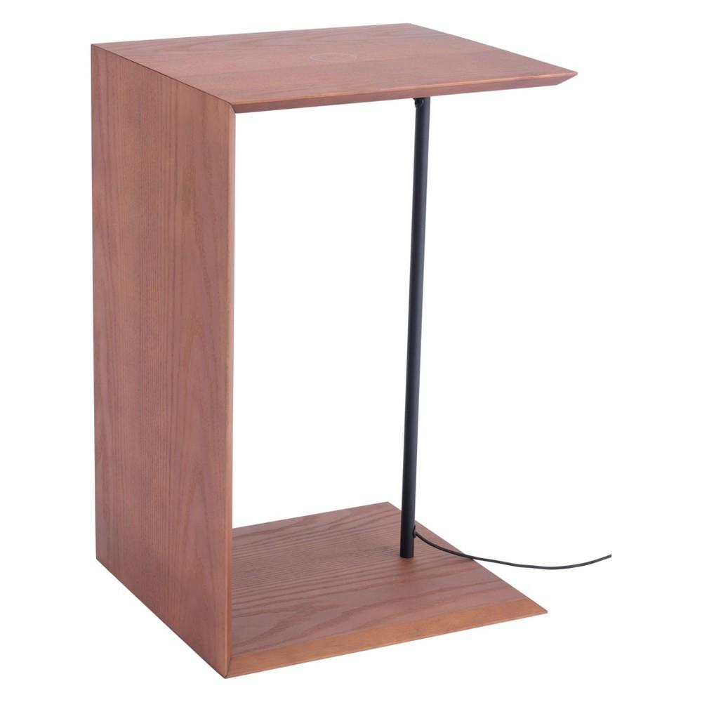 Modern Wireless Charging Side Table Walnut (Brown) - ZM Home