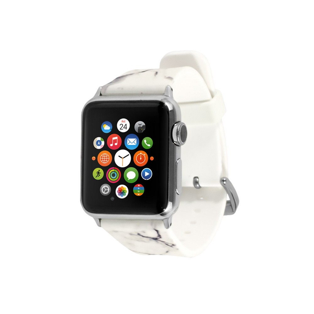 End Scene Apple Watch Band 38mm - Marble White, Adult Unisex, White Gray Add a touch of your personal style to your wearable technology with the Silicone Smartwatch Band for Apple Watch from EndScene. The silicone watch band and adjustable strap let you create the perfect fit that's comfortable to wear all day. The fun colors and designs are sure to get you noticed. Color: White Gray. Gender: Unisex. Age Group: Adult.