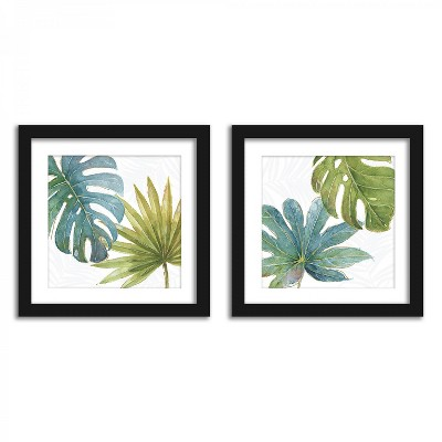 Americanflat Tropical Leaves In Watercolor - Set of 2 Framed Prints by Wild Apple