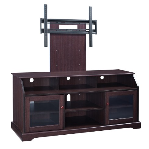 60 Wood Tv Stand With Mount Rack Dark Brown Home Source