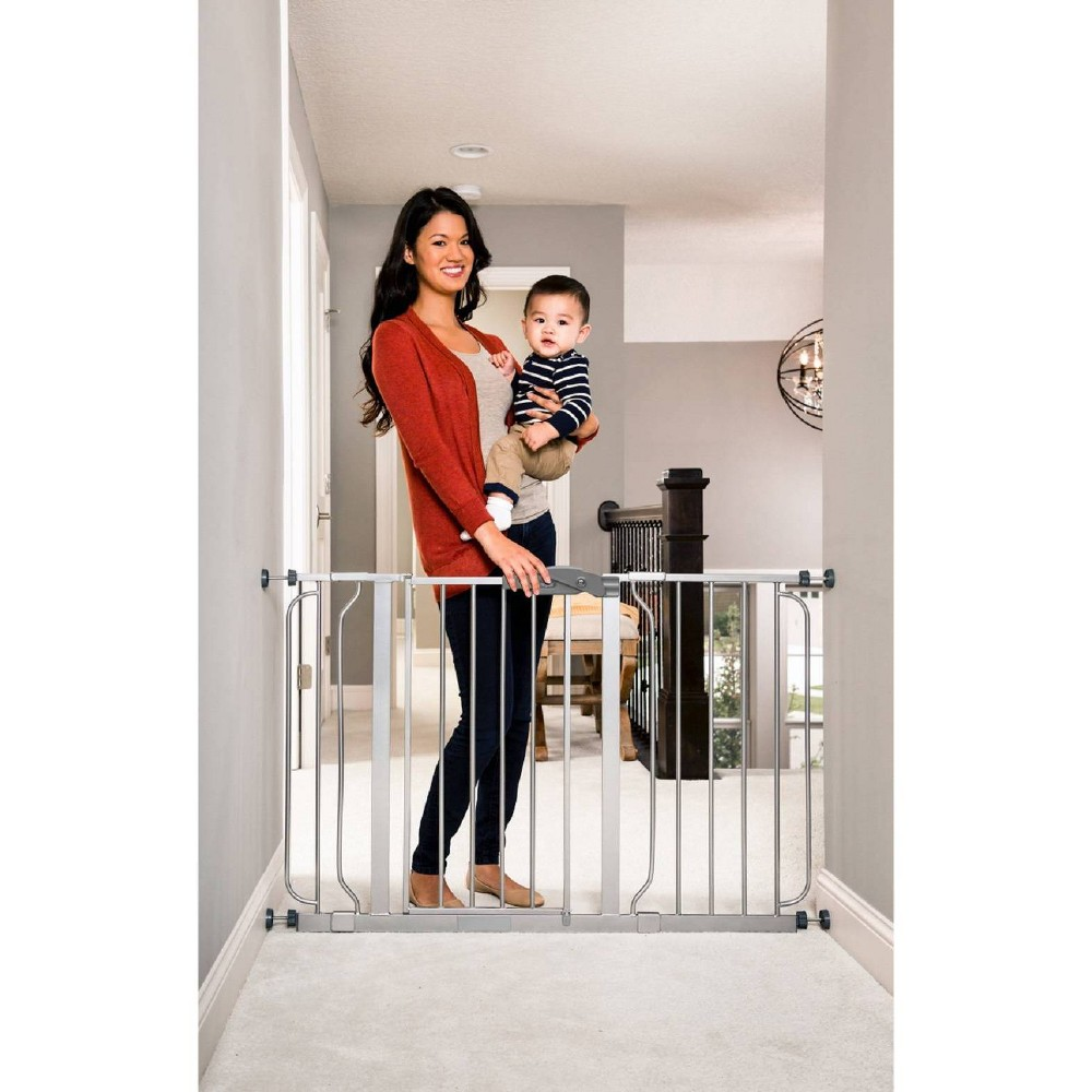 Image of Regalo Extra Wide Easy Step Metal Walk -Through Baby Gate - Platinum, Silver
