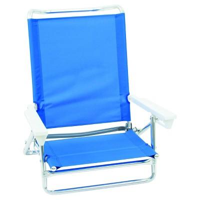5 Position Lay Flat Low Folding Beach Chair - Blue