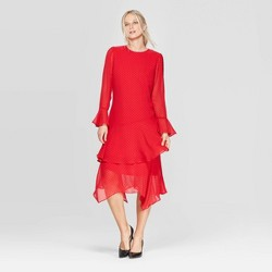 Women's Long Sleeve Boat Neck Tiered Ruffle Hem A-Line Midi Dress - Who What Wear™