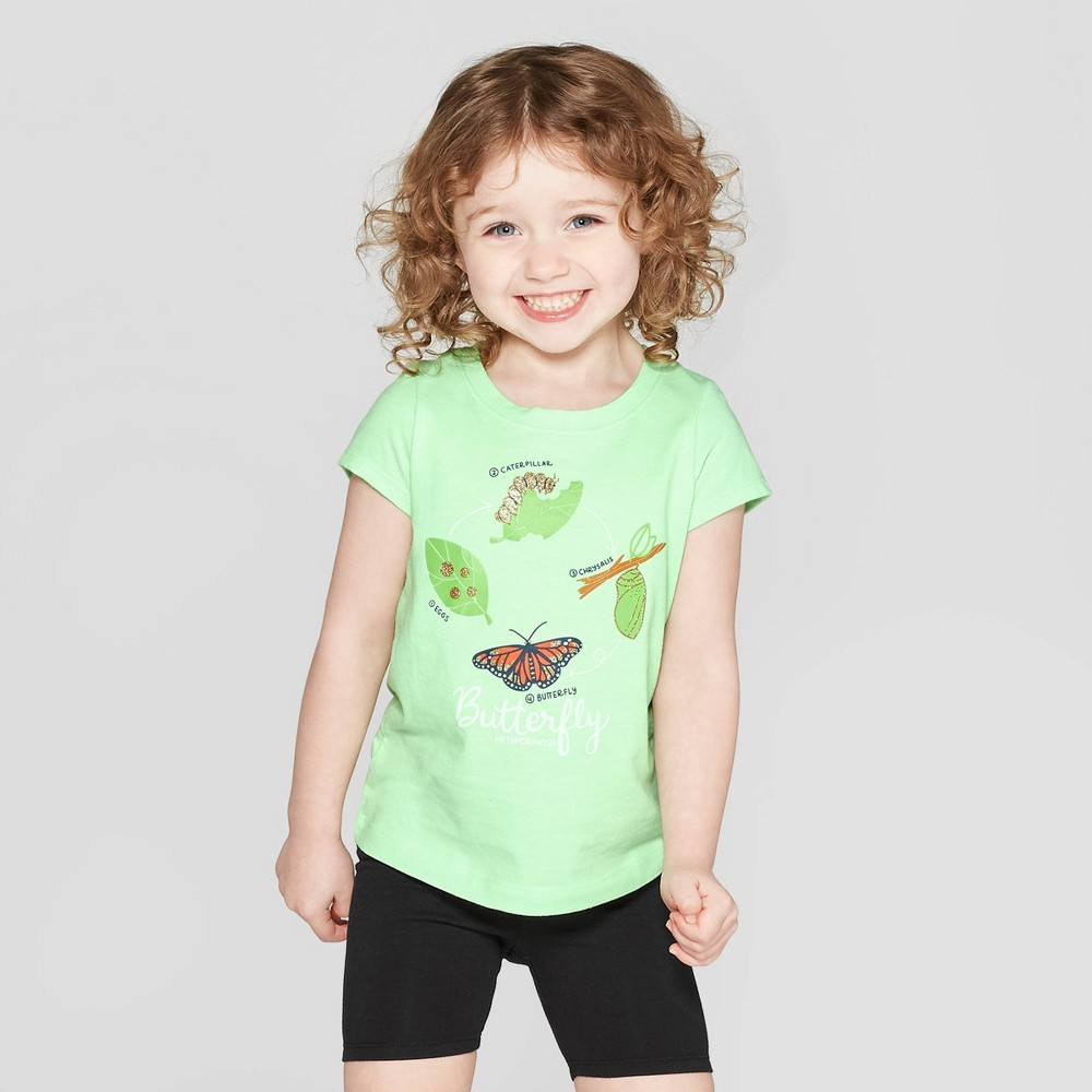 Toddler Girls' Short Sleeve 'Butterfly' Graphic T-Shirt - Cat & Jack Green 5T