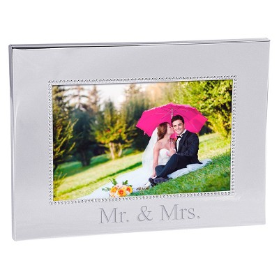Mr. & Mrs. Wedding Beaded Silver Frame