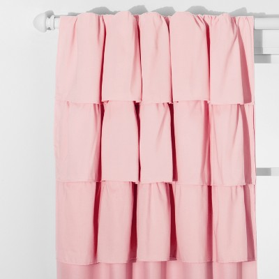 "63"" Ruffle Blackout Curtain Panel Pink - Pillowfort™"