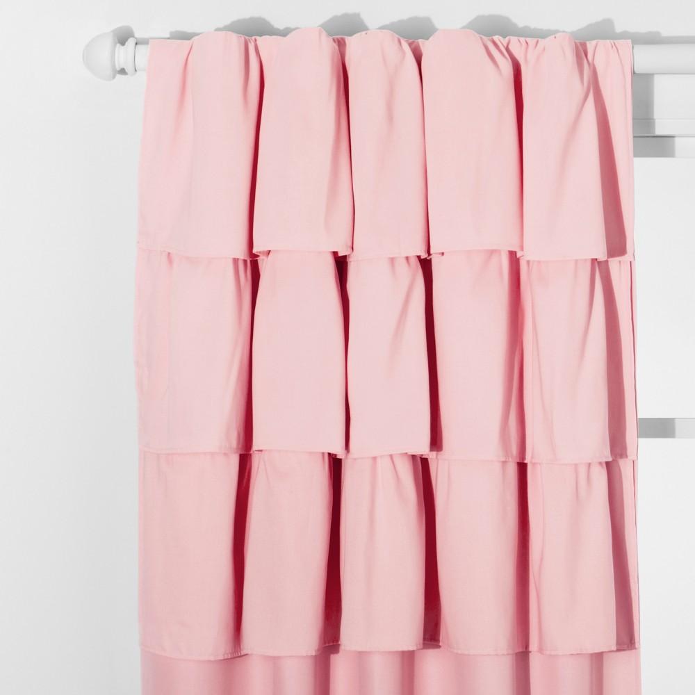 Ruffle Blackout Curtain Panel Pink (42