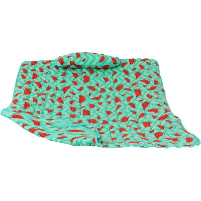 Cotton Quilted Hammock Pad and Pillow - Watermelon and Chevron - Sunnydaze Decor