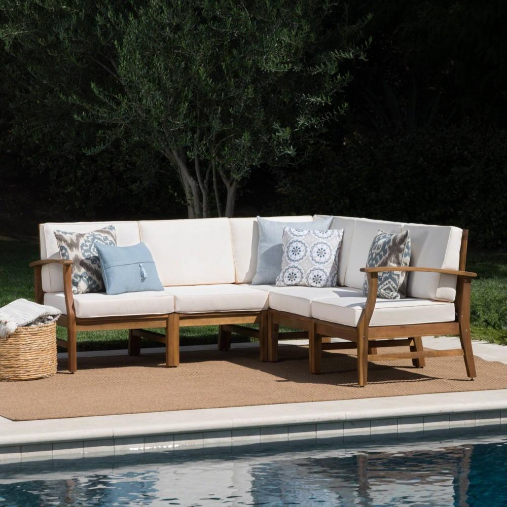 Perla 5pc Patio Sectional Sofa - Teak/Cream (Brown/Ivory) - Christopher Knight Home