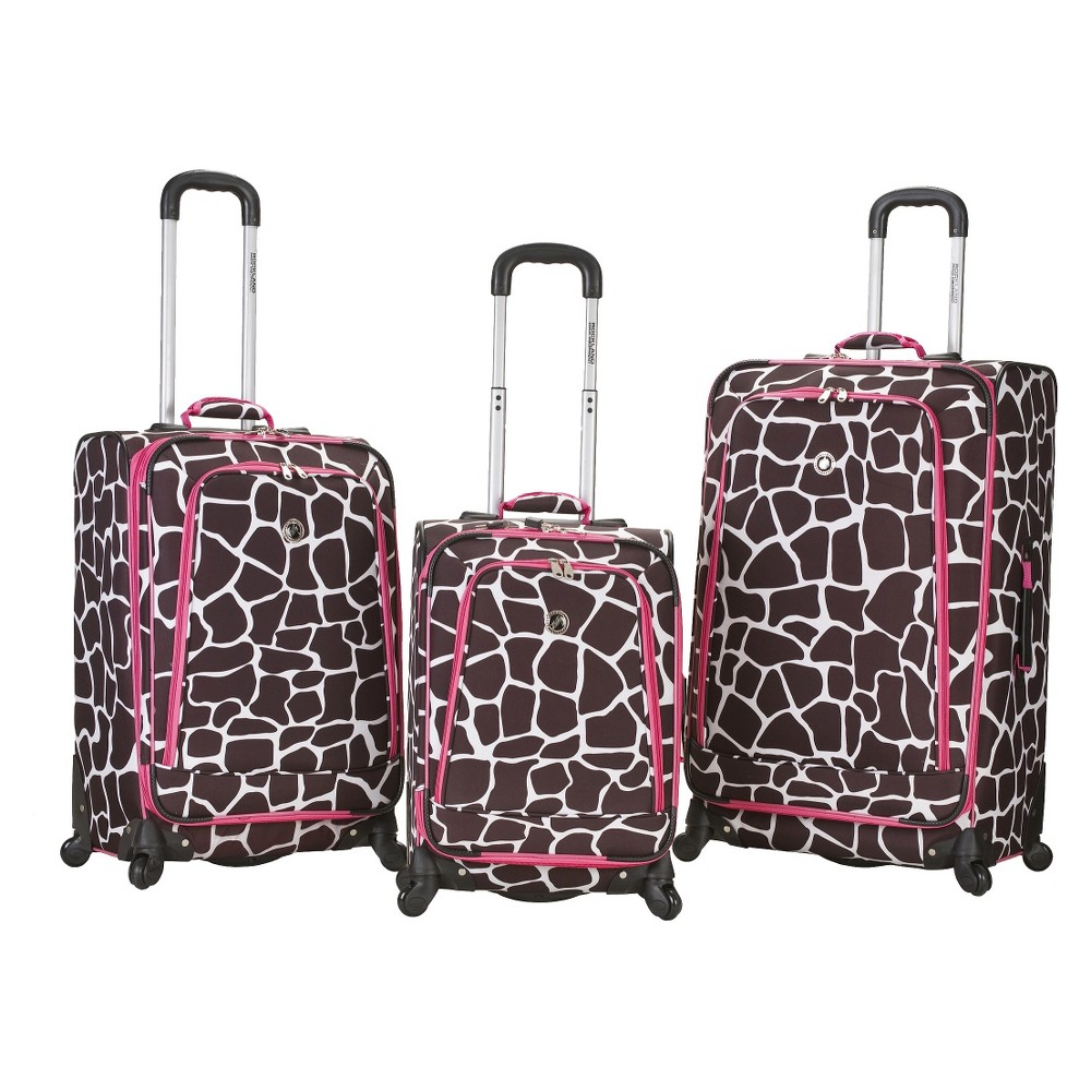 Rockland Fusion 3pc Expandable Spinner Luggage Set Brown Pink