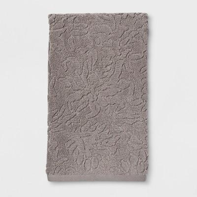 Tonal Gray Sculpted Floral Bath Towel Gray - Threshold™