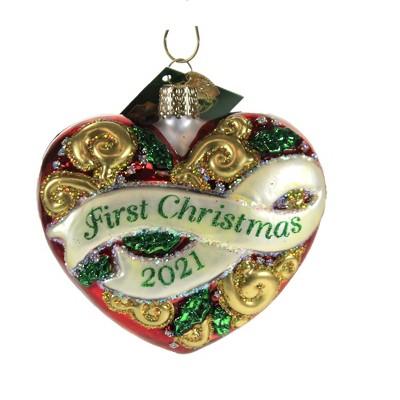 "Old World Christmas 3.25"" 2021 First Christmas Heart Heart Romance  -  Tree Ornaments"