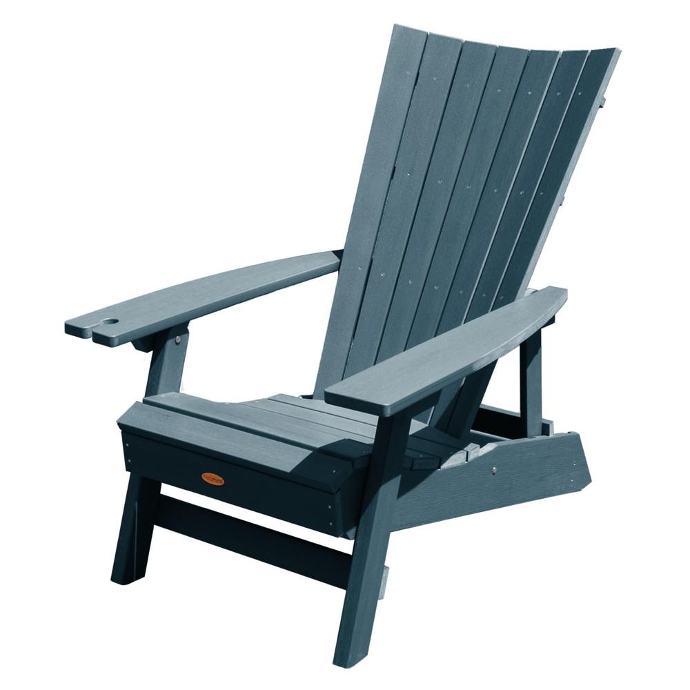 Manhattan Beach Adirondack Chair with Wine Glass Holder Nantucket Blue - Highwood