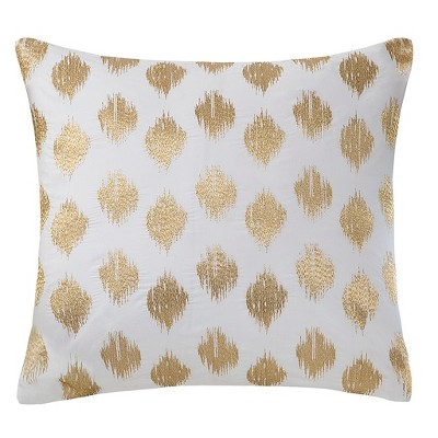 Nadia Dot Embroidered Throw Pillow Gold