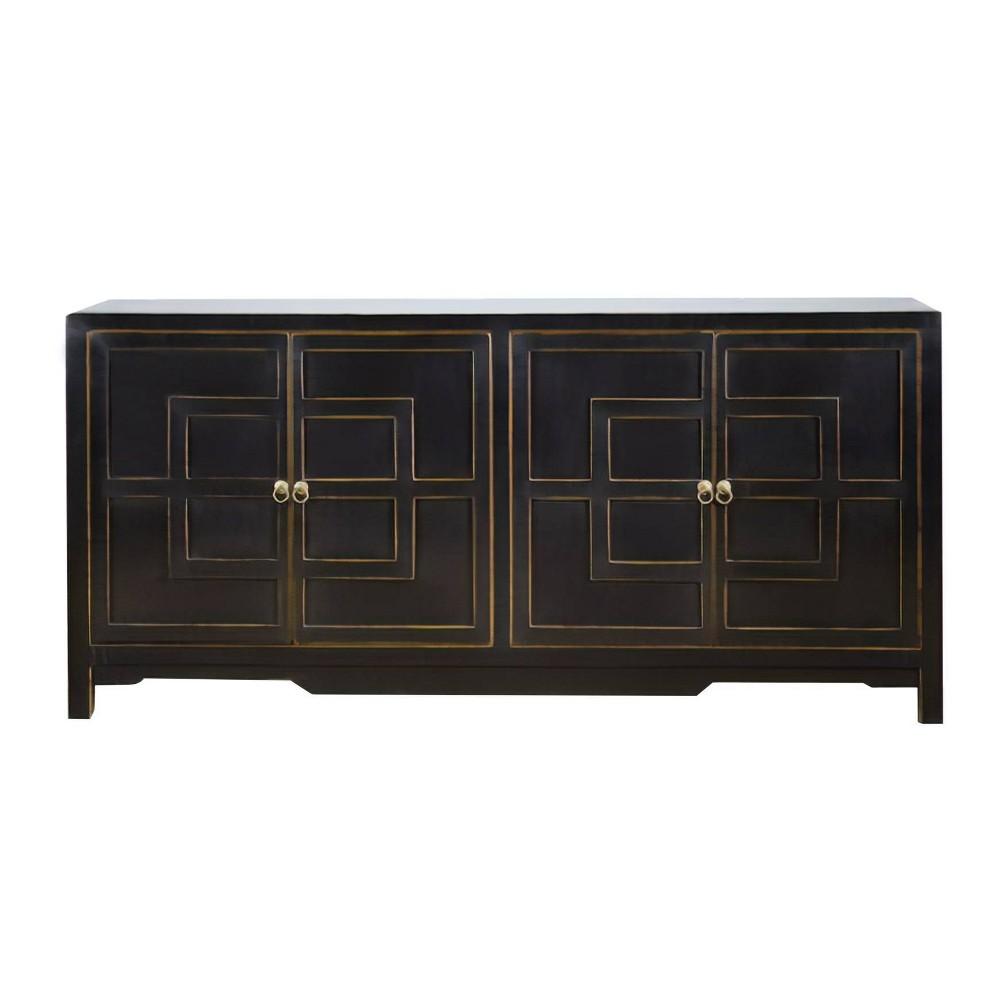 Rafi Wood Door Side Cabinet Buffet Black - Abbyson Living