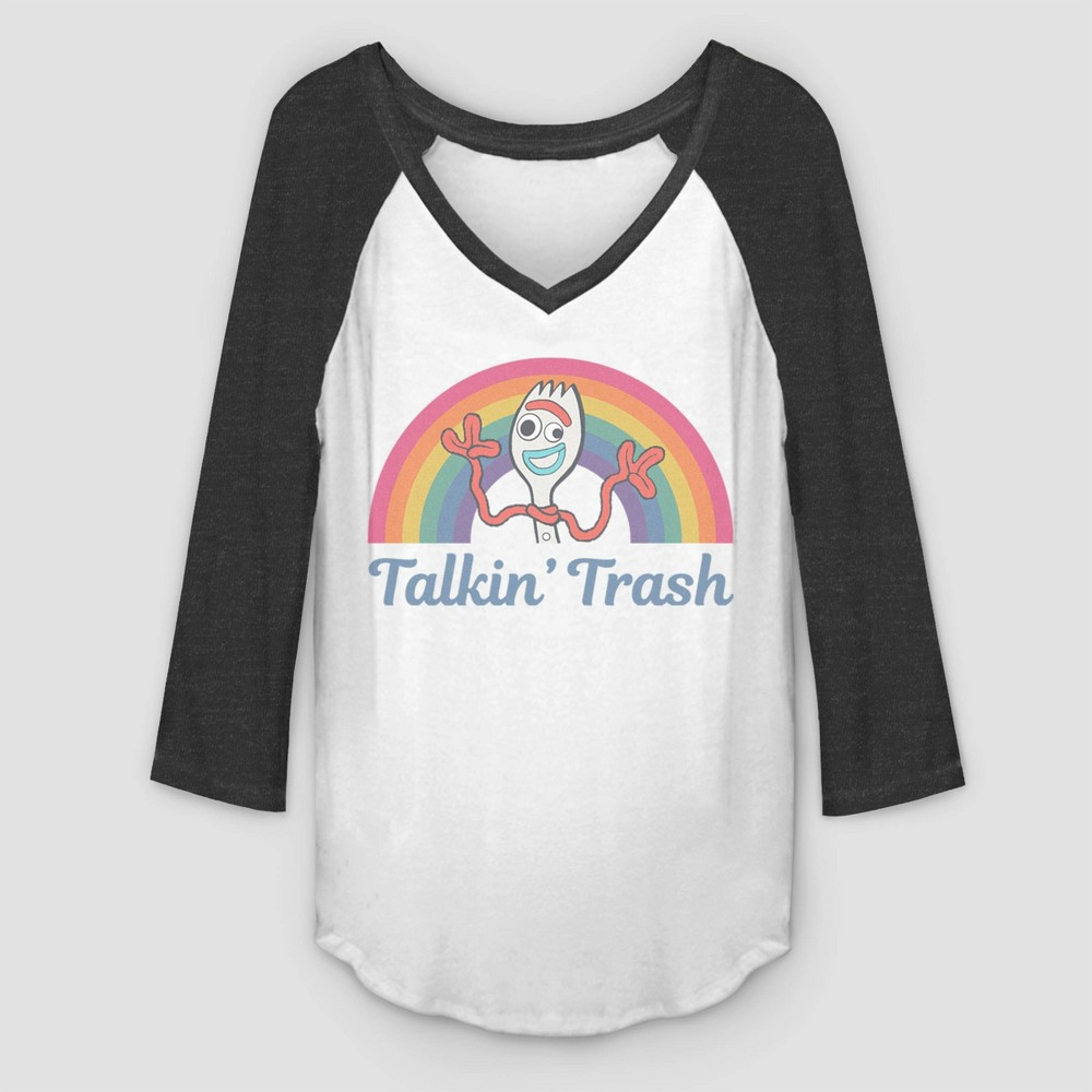 Image of Women's Forky Talkin Trash 3/4 Sleeve Raglan Graphic T-Shirt (Juniors') - White Charcoal Heather M, Women's, Size: Medium, Gray